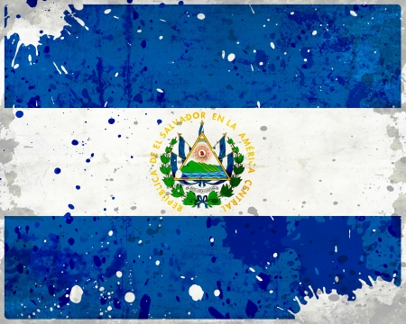 Grunge El Salvador flag with stains - flag series photo
