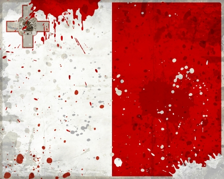 Grunge Malta flag with stains - flag series