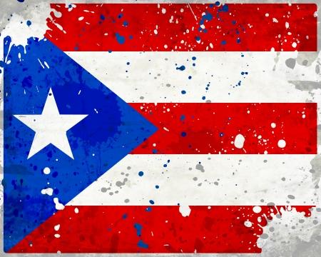 bandera de puerto rico: Grunge bandera de Puerto Rico con manchas - Serie bandera
