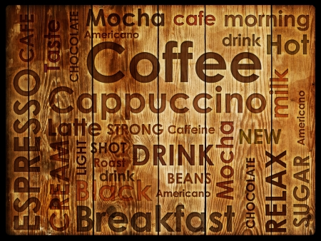 latte art: sorts of coffe on wood background