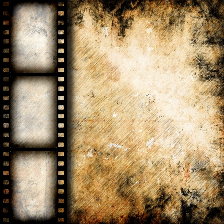 movie poster: Vintage background with film flame Stock Photo
