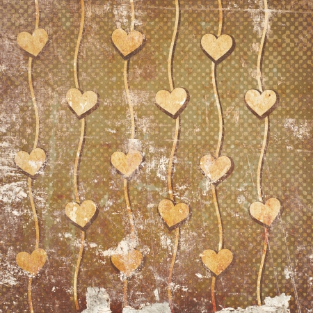 Abstract hearts on vintage background Stock Photo