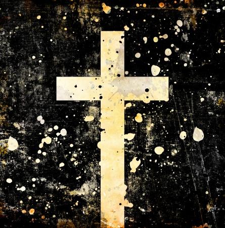 christian background: cross on grunge Background