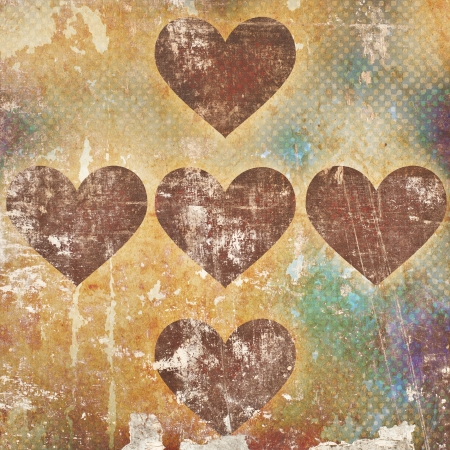 hearts on grunge background Stock Photo - 15666123