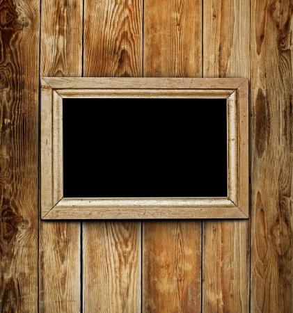 frame of wood: Vintage wooden frame on wood background Stock Photo
