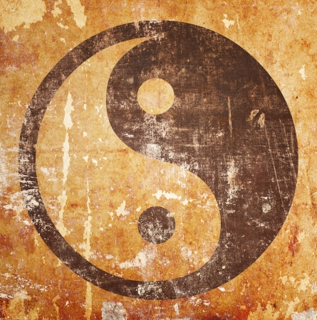 yinyang: Yin yang symbol on grunge background with stains