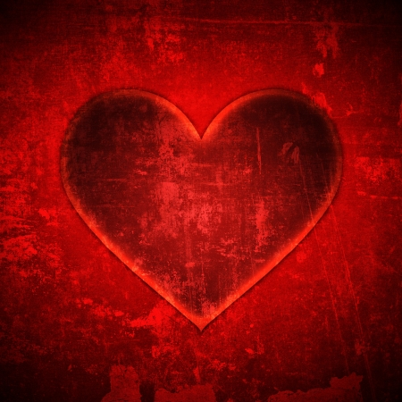 abstract red heart grunge background photo