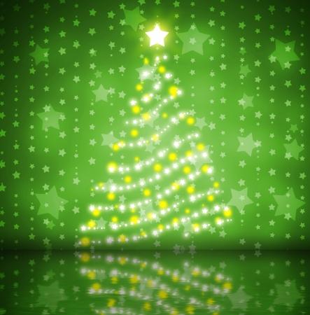 gold colour: Christmas tree  Stock Photo