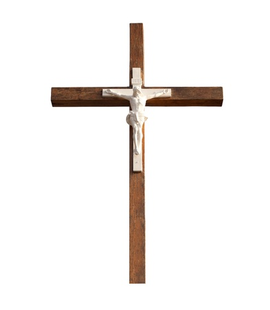 Wooden cross isolated on white background with clipping path photo
