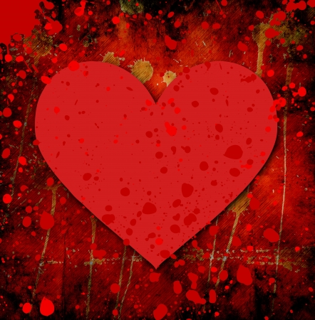 grunge heart with abstract stains Stock Photo - 16931584