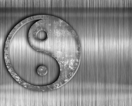 yan: Yin yang symbol on metal background