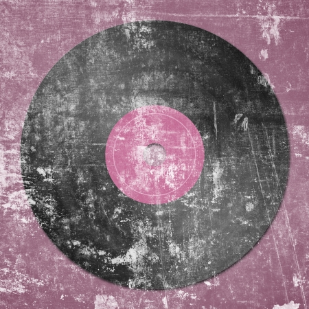rpm: black vinyl record on pink dotted background