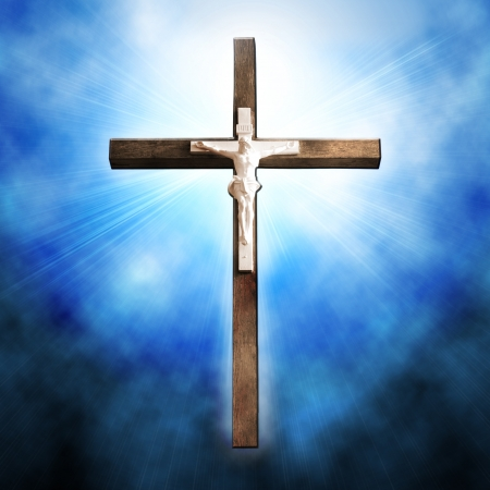magick: Cross on blue background