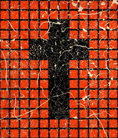 Cross on grunge chessboard background photo