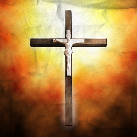 Cross on paper background photo