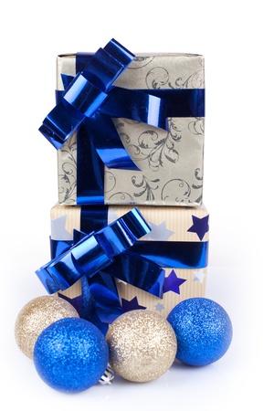 christmas gift box on a white background photo