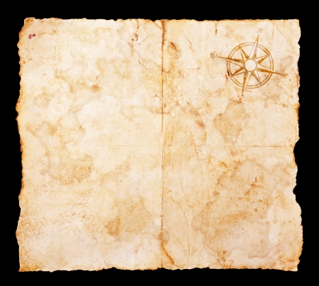 treasure hunt: Old treasure map with clipping path Stock Photo