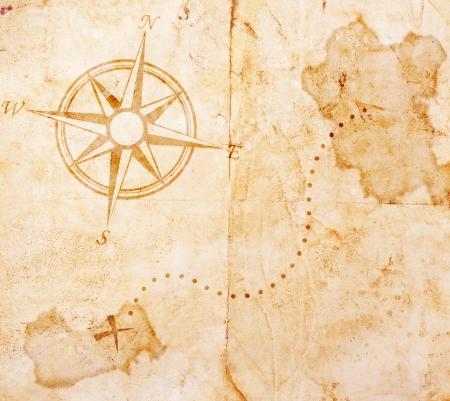 carte tr�sor: Vieux carte au tr�sor Banque d'images
