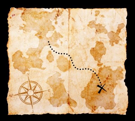 carte tr�sor: Vieille carte aux tr�sors avec chemin de d�tourage Banque d'images
