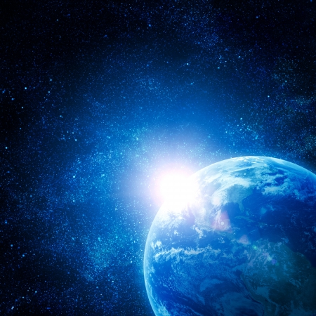 horizon over water: realistic planet earth in space