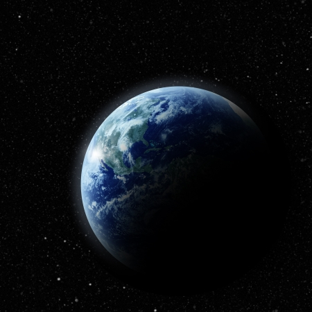 world ball: realistic planet earth in space