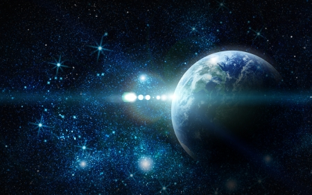 erde gelb: realistische Planeten Erde im Weltraum