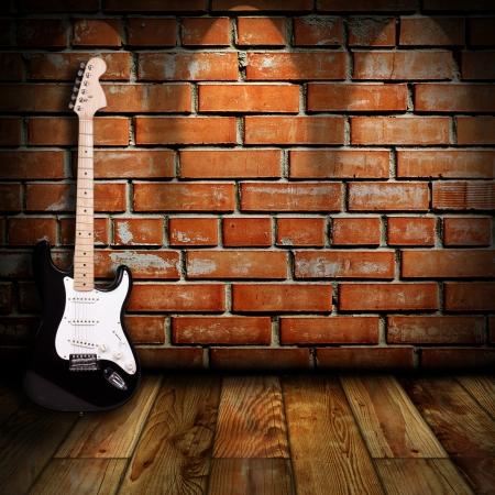 guitarra: guitarra el�ctrica en la habitaci�n