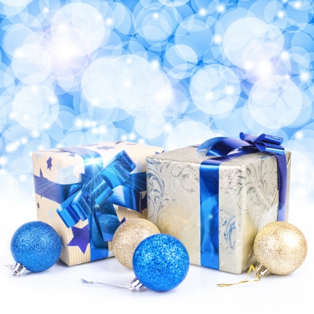 gift boxes against glowing background Stock Photo - 17843723