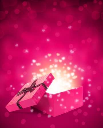 open gift box with light insideout photo