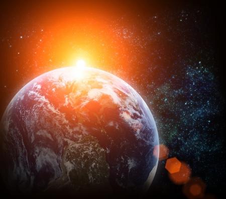 paz mundial: el planeta tierra en el espacio real Foto de archivo