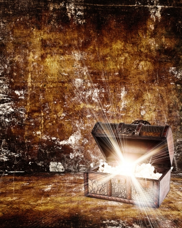 money background: treasure chest with jewelry inside against grunge background