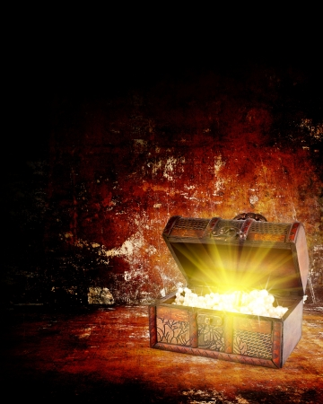 light box: treasure chest with jewelry inside against grunge background