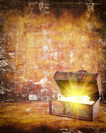 coffer: treasure chest with jewelry inside against grunge background