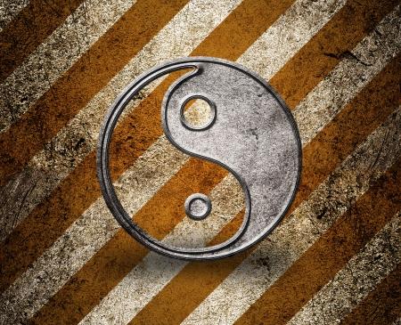 daoism: Yin yang symbol on grunge background