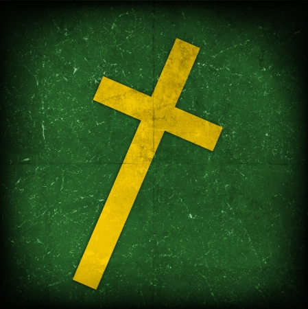 baptist: cross on green grunge background Stock Photo