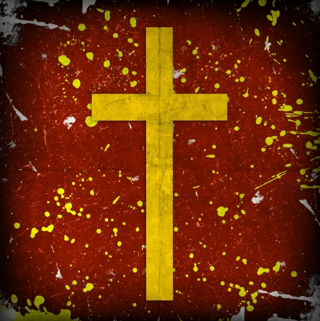 jesuit: cross on red grunge background Stock Photo