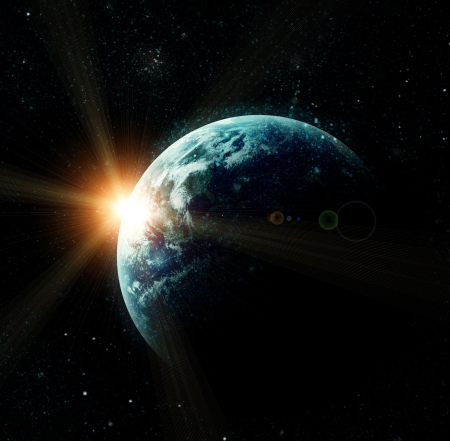 horizon over water: realistic planet earth in space. Elements of this image furnished by NASA Stock Photo