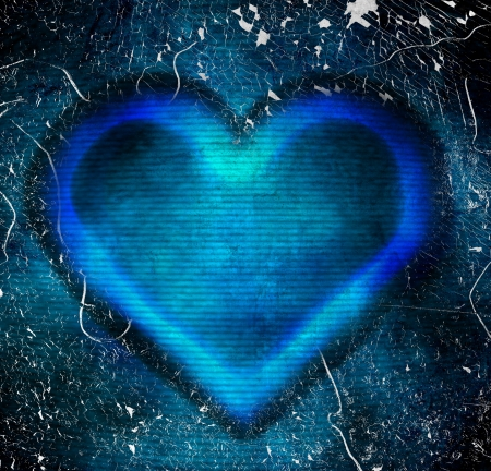 abstract blue heart grunge background photo