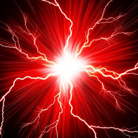赤の背景に稲妻の電気の閃光