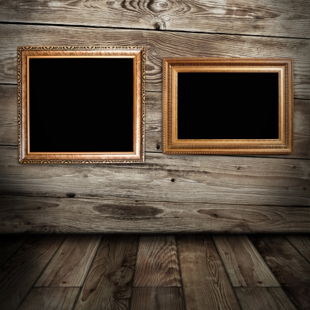 two golden frames in vintage room photo