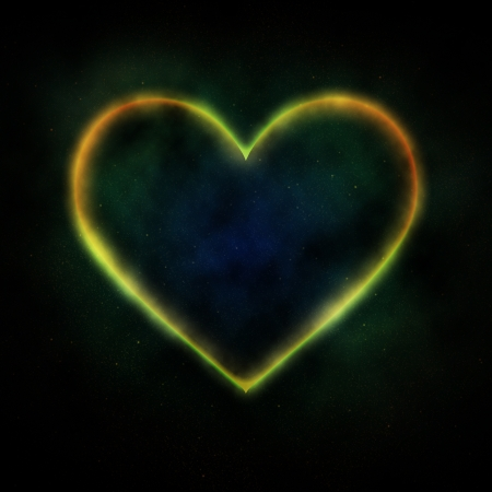soul mate: Glowing heart on blue background