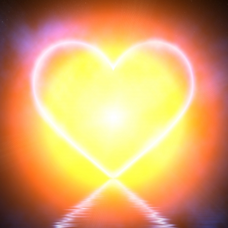 Glowing heart on blue background Stock Photo - 18744025