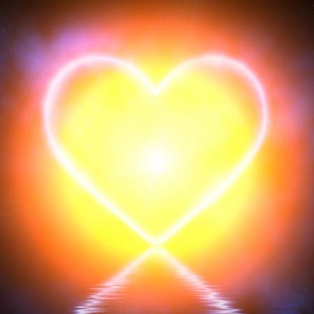 heartache: Glowing heart on blue background