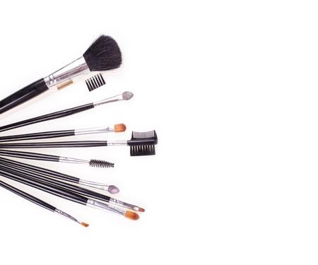 basic care: professional cosmetic brushes on white background