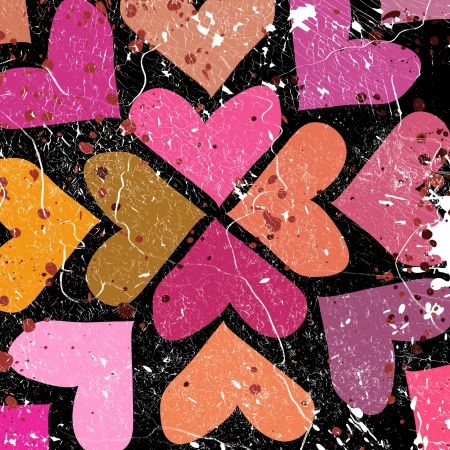 free holiday background: scattered colorful hearts on grunge background