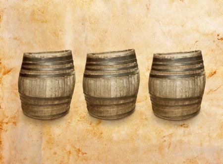 three wooden barrel on vintage background photo