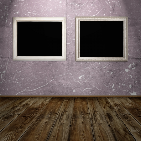 two vintage frames in blue grunge room photo