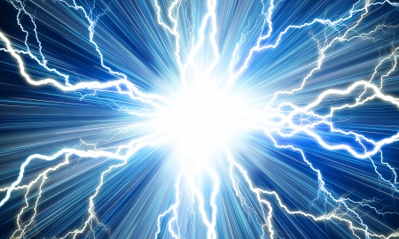 electrocute: Electric flash of lightning on a blue background