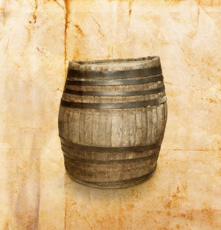 Wooden barrel on vintage background photo