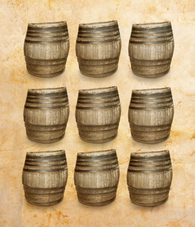 Wooden barresl on vintage background photo